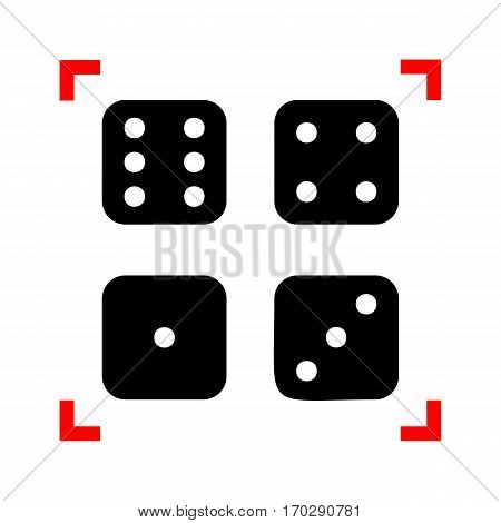Devils bones, Ivories sign. Black icon in focus corners on white background. Isolated.