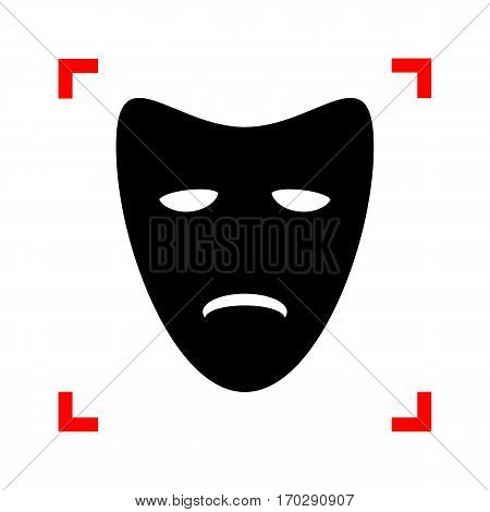 Tragedy theatrical masks. Black icon in focus corners on white background. Isolated.
