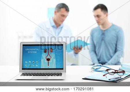 Laptop screen with results of urology diagnostic