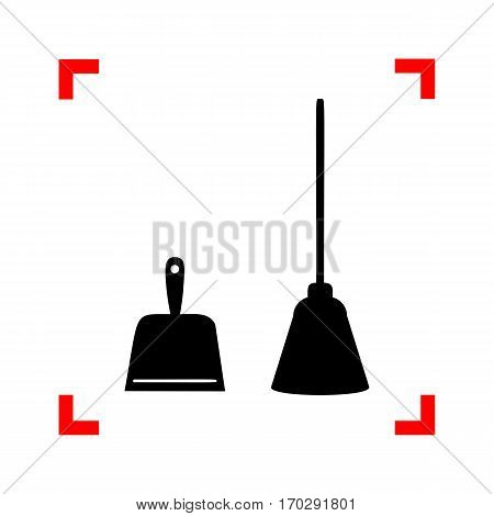 Dustpan vector sign. Scoop for cleaning garbage housework dustpan equipment. Black icon in focus corners on white background. Isolated.