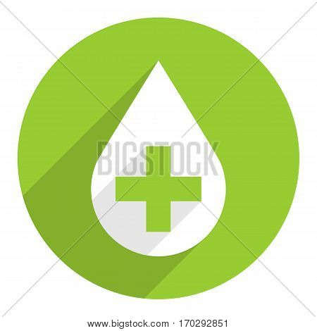 Use it in all your designs. First aid drop white sign with green cross on circular icon. Flat long shadow style. Vector illustration a graphic element for design