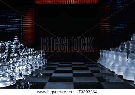 game of chess played by computer, microchips and transistors