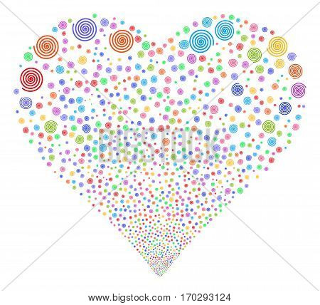 Hypnosis fireworks with heart shape. Vector illustration style is flat bright multicolored iconic symbols on a white background. Object heart made from random pictographs.