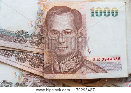 Background baht banknote which is the currency of Thailand.