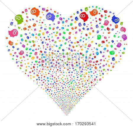Intellect Gears fireworks with heart shape. Vector illustration style is flat bright multicolored iconic symbols on a white background. Object heart created from random symbols.