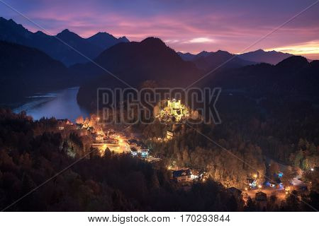 Germany. Bavaria. View of Hohenschwangau Castle and Lake Alpsee