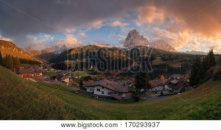 Italy. Dolomites. Panorama of the village of Santa Cristina in Val Gardena and the mountains Sassolungo