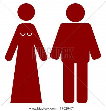 Married Groom And Bribe vector icon symbol. Flat pictogram designed with dark red and isolated on a white background.