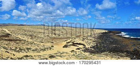 a panoramic view of the northeastern coast of Lanzarote, in the Canary Islands, Spain