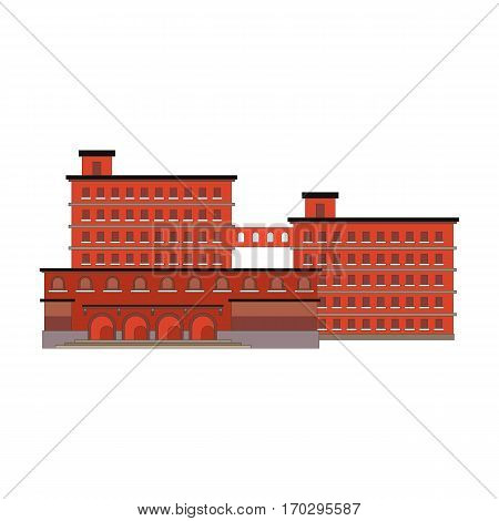 Factory building red icon in the flat style. Industrial factory building concept isolated on white background. Manufacturing factory building. Vector illustration eps10
