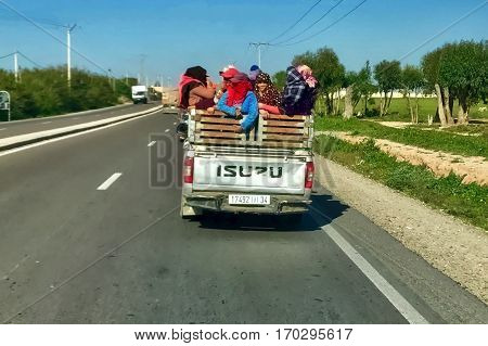 Tiznit, Morocco, January 29, 2017: Passanger transportation at Tiznit in Morocco.