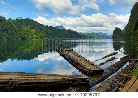 Bamboo rafts on Cheow Lan lake, National Park Khao Sok, Thailand