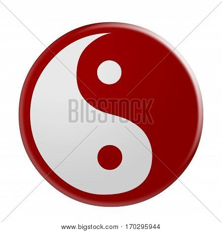 3d Red Yin And Yang Symbol illustration isolated on white background