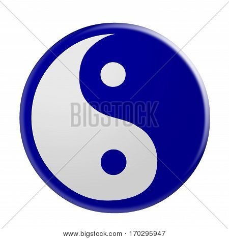 3d Blue Yin And Yang Symbol illustration isolated on white background