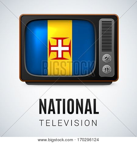 Vintage TV and Flag of Madeira as Symbol National Television. Tele Receiver with flag colors