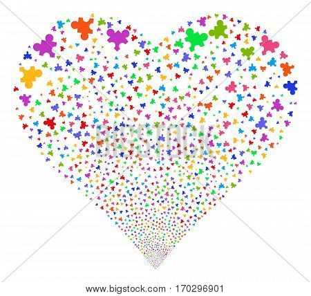 Plugin fireworks with heart shape. Vector illustration style is flat bright multicolored iconic symbols on a white background. Object valentine heart made from scattered icons.