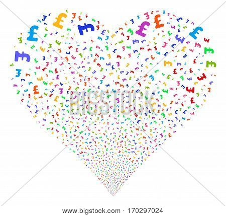 Pound Sterling fireworks with heart shape. Vector illustration style is flat bright multicolored iconic symbols on a white background. Object salute constructed from random pictograms.