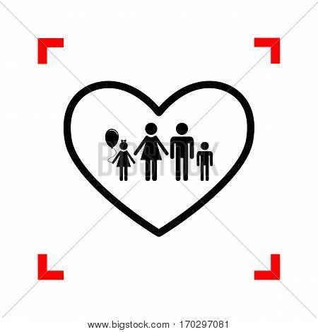 Family sign illustration in heart shape. Black icon in focus corners on white background. Isolated.