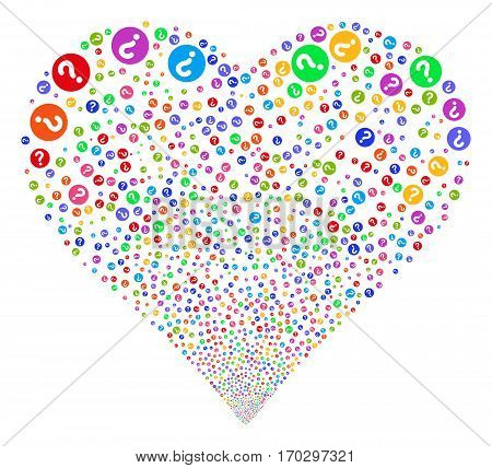 Query fireworks with heart shape. Vector illustration style is flat bright multicolored iconic symbols on a white background. Object stream combined from scattered pictograms.