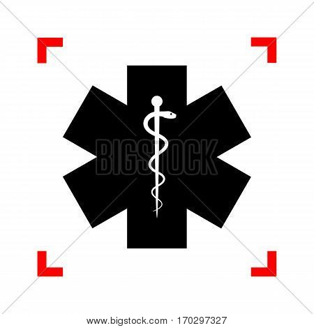 Medical symbol of the Emergency or Star of Life. Black icon in focus corners on white background. Isolated.