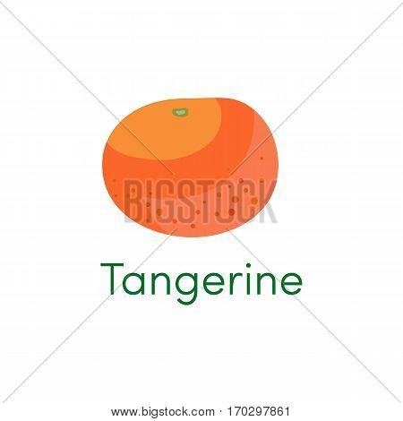 Mandarin and tangerine orange fruit icon. Cartoon citrus object isolated on a white background. Vector illustration eps10