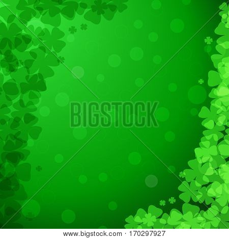 Vector abstract gradient green background for Happy St. Patrick's Day with clover leaves arranged at corners.