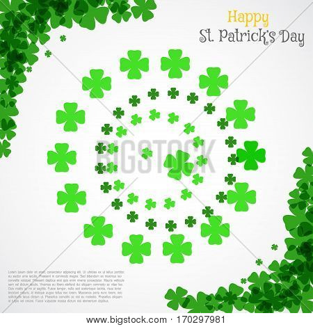 Vector Happy St. Patrick's Day poster on the white background with text and clover leaves arranged in a circle and at corners.