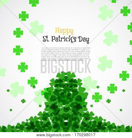 Vector Happy St. Patrick's Day poster on the white background with text and clover leaves arranged in a circle and center.