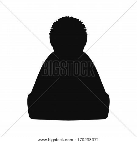 Winter hat silhouette. Top black hat isolated on white. Vector illustration eps10