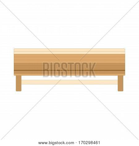 Wooden bench isolated on white. Vector outdoor bench.