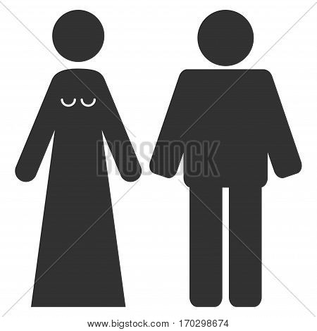 Married Groom And Bribe vector icon symbol. Flat pictogram designed with gray and isolated on a white background.