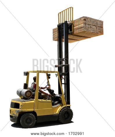 Forklift Loaded With Wood
