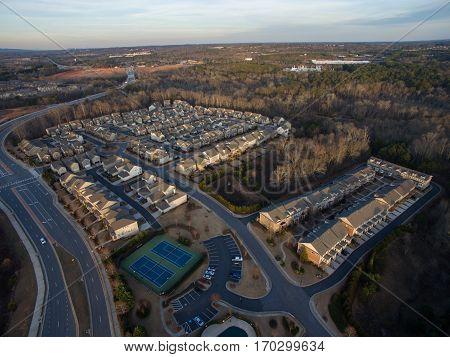 Aerial picture of georgia suburbs in United States