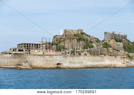 Battleship Island in Nagasaki city of Japan