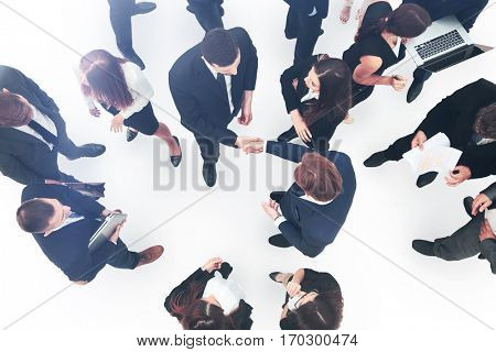 Elevated view of large group of multiethnic business people maki