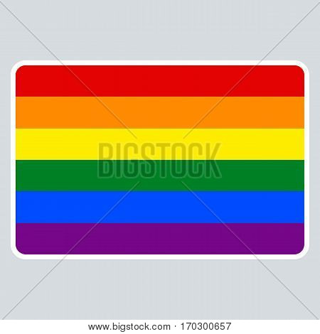 Use it in all your designs. Blank name tag sticker rectangular badge painted in the colors of the LGBT movement rainbow flag. Quick re-colorable element in vector illustration