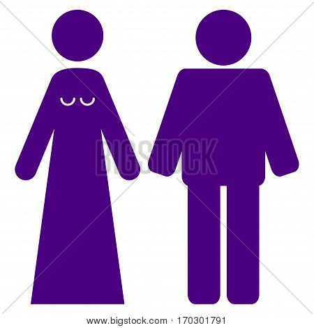 Married Groom And Bribe vector icon symbol. Flat pictogram designed with indigo blue and isolated on a white background.