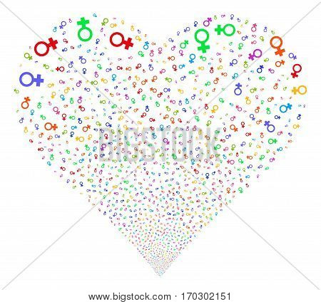 Venus Symbol fireworks with heart shape. Vector illustration style is flat bright multicolored iconic symbols on a white background. Object salute made from confetti pictograms.