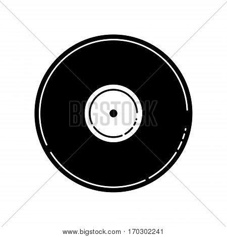 Vector Illustration Of A Blank Black Vinyl Record