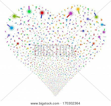 Wand Magic Tool fireworks with heart shape. Vector illustration style is flat bright multicolored iconic symbols on a white background. Object love heart done from random design elements.