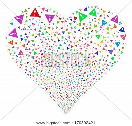 Warning fireworks with heart shape. Vector illustration style is flat bright multicolored iconic symbols on a white background. Object heart made from scattered symbols.