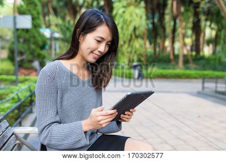Woman use of tablet computer