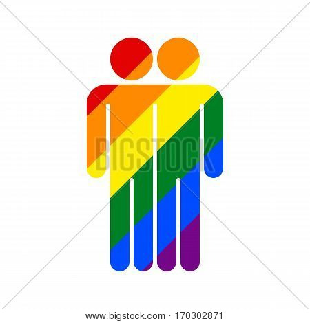 Use it in all your designs. Two man's figures painted in the colors of the LGBT movement rainbow flag. Quick and easy recolorable graphic element in technique vector illustration