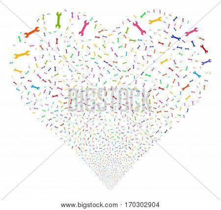 Wrench fireworks with heart shape. Vector illustration style is flat bright multicolored iconic symbols on a white background. Object valentine heart made from scattered icons.