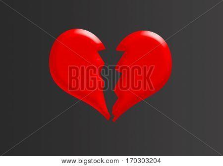 Red vector broken heart.Bad valentine day.Saint Valentine's Day