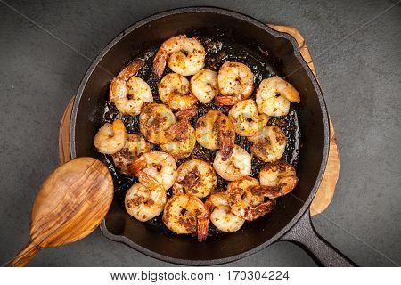Shrimps in a skillet