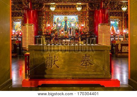YOKOHAMA, JAPAN - NOVEMBER 7, 2016 : The Kwan Tai Temple in Chinatown district of Yokohama at night, Japan. Chinatown of Yokohama is the largest chinatown in Asia.