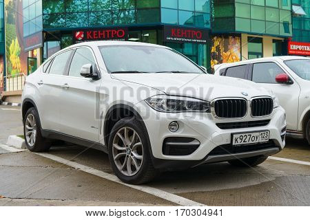 Sochi, Russia - October 12, 2016: Luxury Bmw x6 parked on the street of Sochi City new model of the brand BMW.