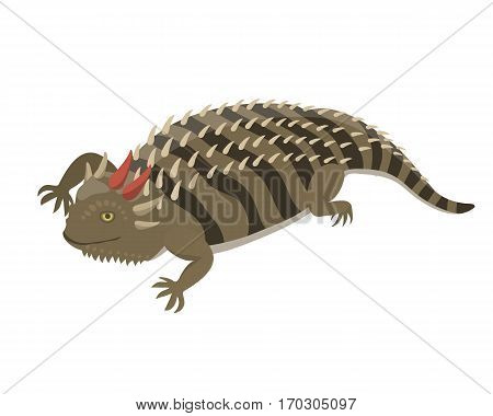 Goanna lizard reptile isolated vector illustration. Wild cartoon nature dragon funny design. Reptile flat drawing body monster character.