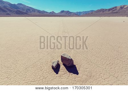 Unusual moving rocks. Racetrack Playa at Death Valley National Park. California, USA
